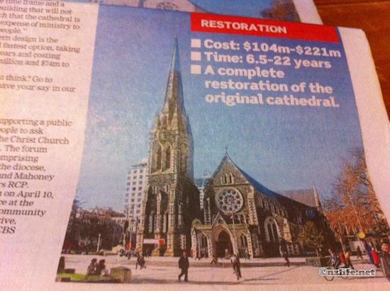 再建されるCHC大聖堂。どれが好きですか?