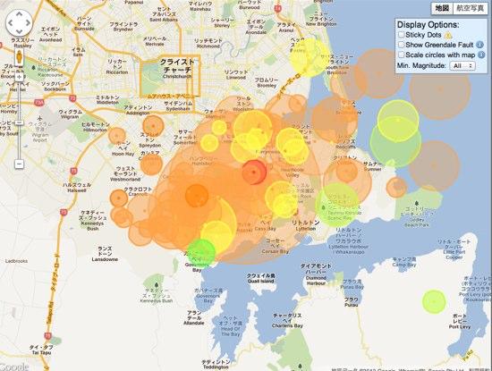 カンタベリー地震。1万回の余震を記録。余震頻度は日本の○倍!